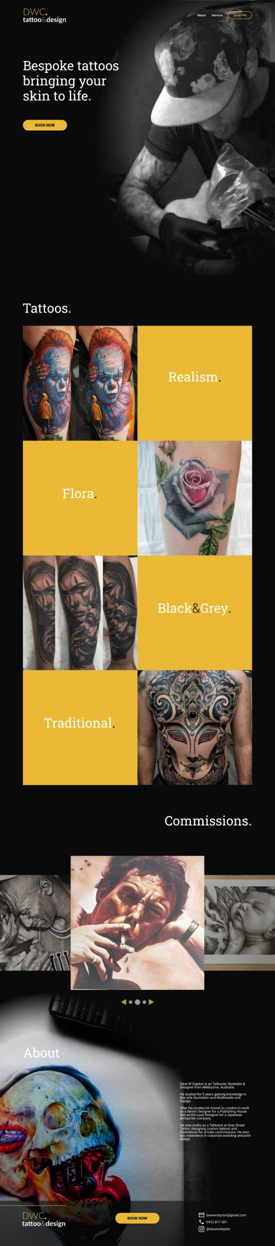 DWC Tattoo website design