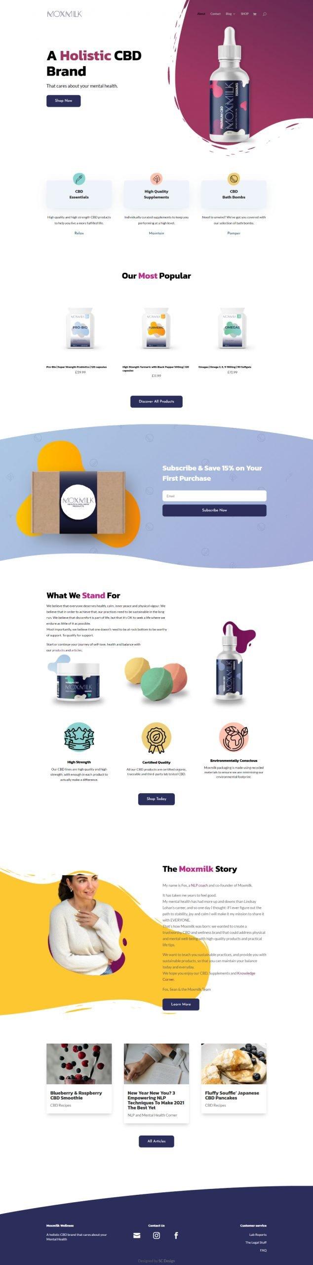 moxmilk homepage design